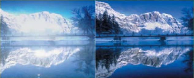Porovnání vidění přes polarizační brýle